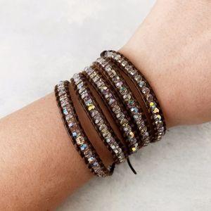 Chan Luu Crystal on Brown Leather Wrap Bracelet